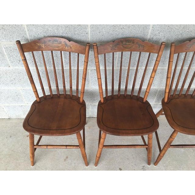Description: L. Hitchcock Set of 4 Harvest Stonington Windsor Solid Maple Side Chairs, Harvest Paint Decorated, Normal...
