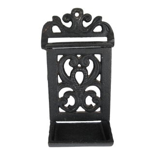 Black Cast Iron Match Safe For Sale