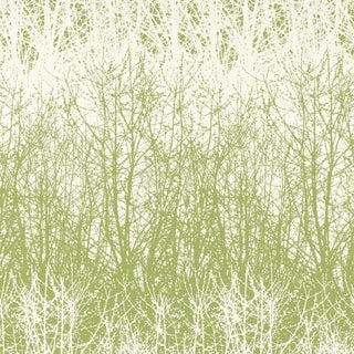 Sample - Schumacher Birches Wallpaper in Leaf White For Sale