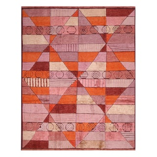 "Scandinavian-Inspired Orange Rug-8'1'x12'2"" For Sale"