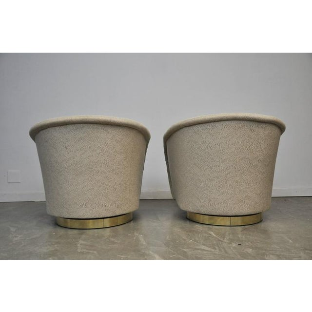 Thayer Coggin Pair of Milo Baughman Swivel Chairs on Brass Bases For Sale - Image 4 of 8