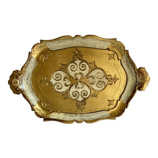 Midcentury Petite Florentine Decor Tray For Sale