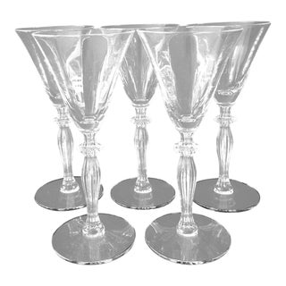 Vintage Clear Crystal Tall Sherry Glasses - S/5