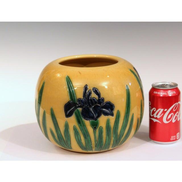 Green Large Tanabe-Awaji Pottery Japanese Incised Iris Signed Jardinière Bowl Vase For Sale - Image 8 of 9