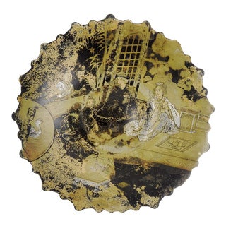 Distressed Chinoiserie Paper Mache Plate For Sale