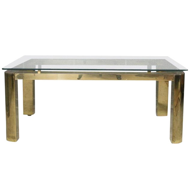Pace Mid-Century Modern Brass and Floating Glass Cocktail Table - Image 1 of 6