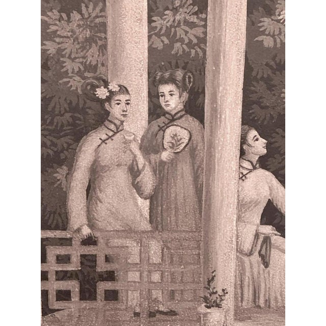 Wood Large Scale Triptych of Idyllic Scenes of Ancient China, Paintings in Brunaille, Jardins en Fleur Showroom Samples For Sale - Image 7 of 9
