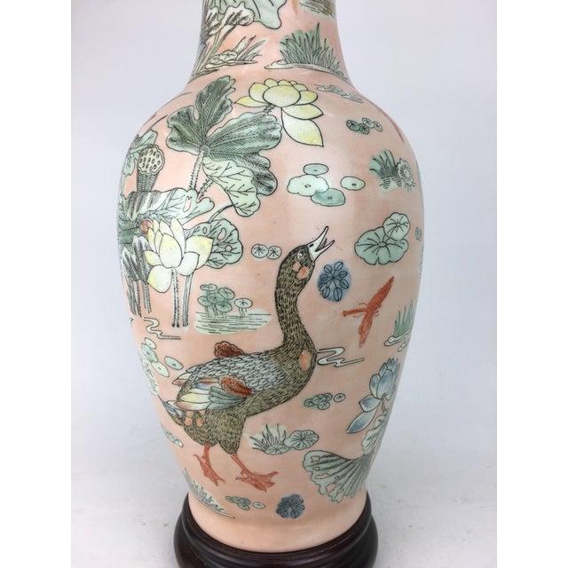 Asian Japanese Ducks & Lotus Lake Vase Lamp For Sale - Image 3 of 4