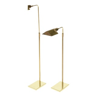 Pair of Brass Adjustable Pharmacy Floor Lamps in the Style of Cedric Hartman For Sale