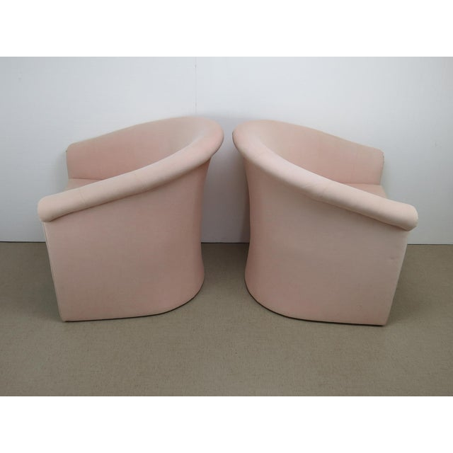 1960s Milo Baughman Style Muted Rose Pink Barrel Back Tub Chairs - a Pair For Sale - Image 9 of 13