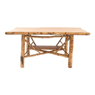 Rustic Adirondack Rectangular Birchwood Dining Table For Sale