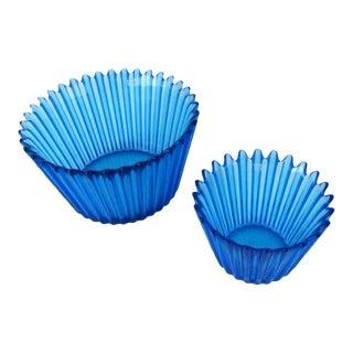 Kosta Boda Cupcake Design Decorative Glass Bowls - a Pair For Sale