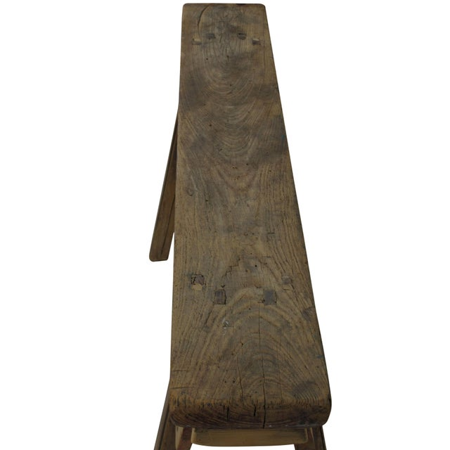 Late 19th Century Antique Chinese Elm Countryside Bench For Sale - Image 5 of 6