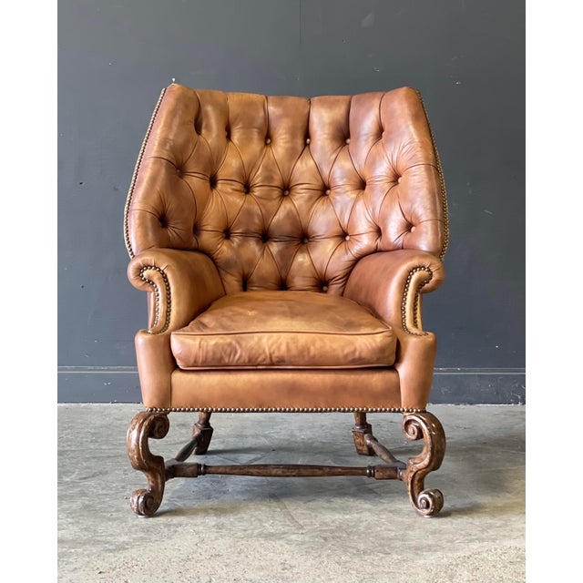 Leather Wing Back Chair For Sale - Image 10 of 10