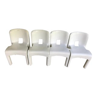 Vintage Mid Century Mod Joe Colombo Kartell Universale White Molded Plastic Chairs- 4 For Sale