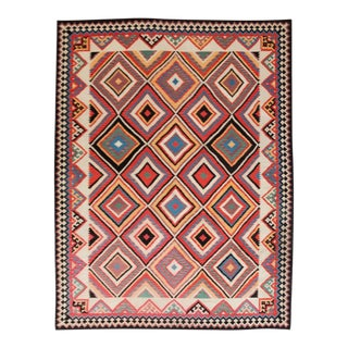 Large Diamond-Pattern Kilim Rug For Sale