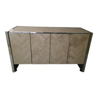 1980s Modern Ello Travertine Mirrored Credenza For Sale