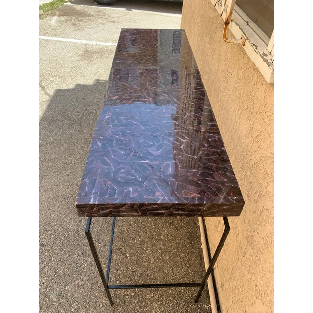 Contemporary Penshell and Iron Console Table For Sale - Image 4 of 6