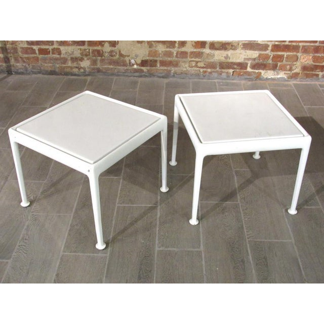 Pair Richard Schultz Side Tables for Florence Knoll. Has white powdered cast aluminum frames.