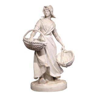 19th Century French Woman Holding Wicker Baskets Biscuit Porcelain Sculpture