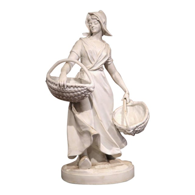 19th Century French Woman Holding Wicker Baskets Biscuit Porcelain Sculpture For Sale