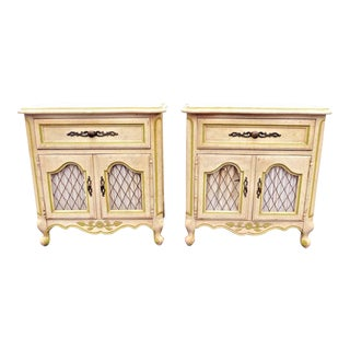Vintage Hickory French Provincial Country Nightstands - A Pair