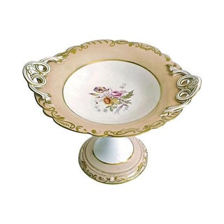 Antique Porcelain Floral Compote