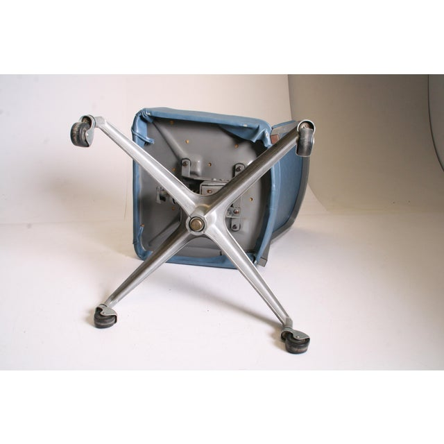 Mid Century Modern Blue Vinyl Swivel Office Chair - Image 11 of 11