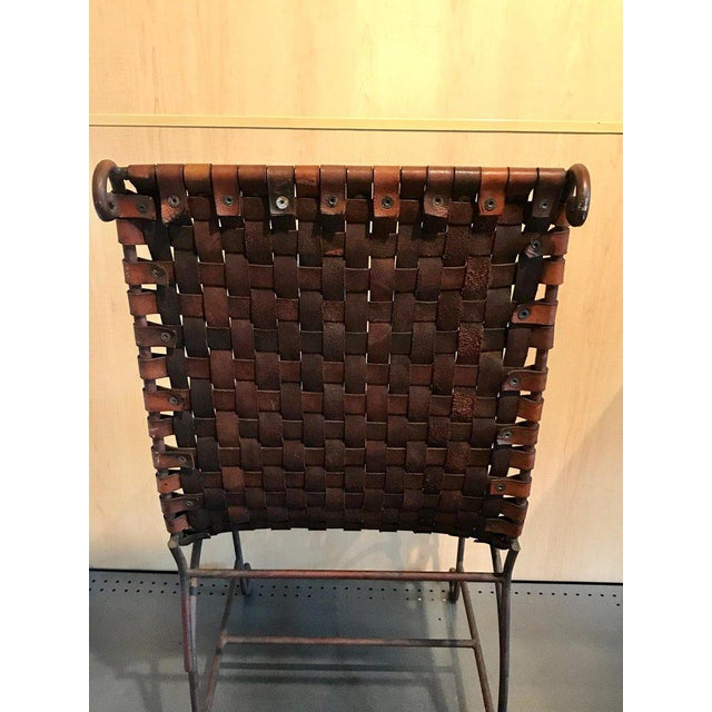 Pair of French Leather and Iron Chairs For Sale - Image 9 of 13