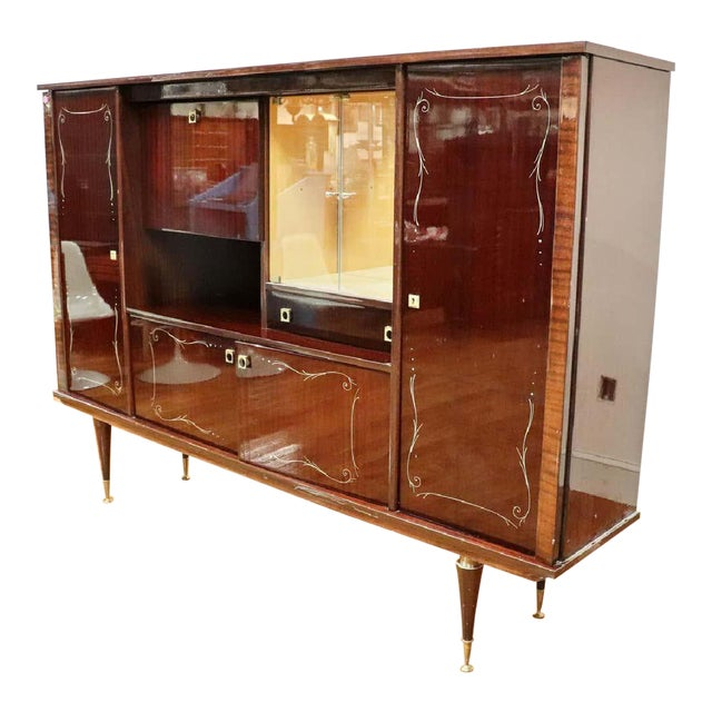 Large Mid-Century Modern Italian Mahogany China Cabinet Bar Manner of Gio Ponti For Sale