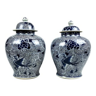 Early 20th Century Antique Asian Porcelain Ginger Jars- a Pair For Sale