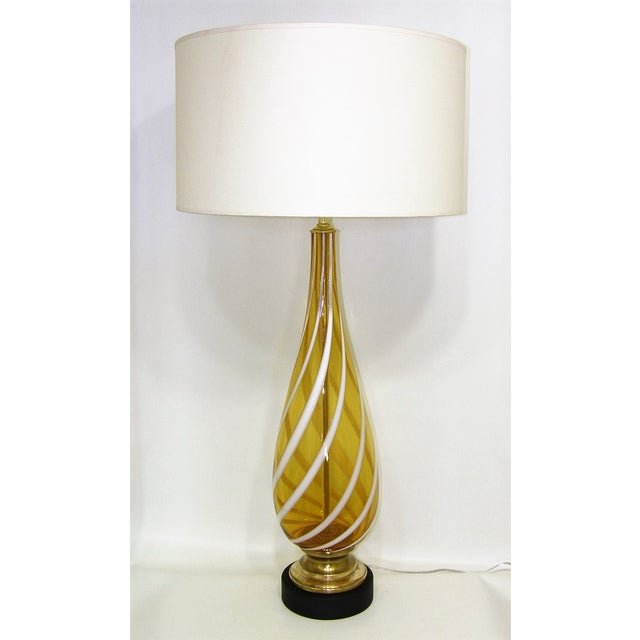 Italian amber and white striped murano glass table lamp mid century italian amber and white striped murano glass table lamp mid century modern mcm image aloadofball Images