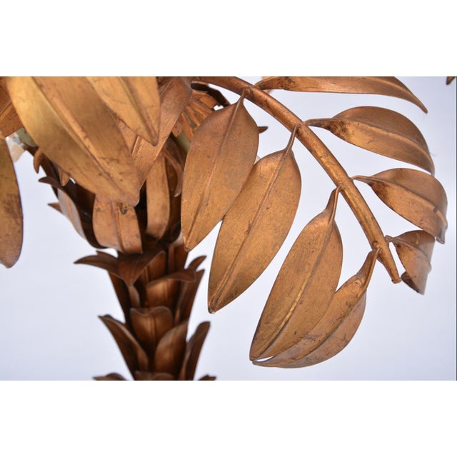 1980s Vintage Golden Palm Tree Floor Lamp by Hans Kögl, 1970s For Sale - Image 5 of 11