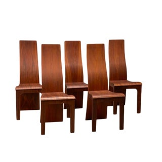 High Back Rosewood Bent Plywood Chairs by Hans Karlsson- Set of 5