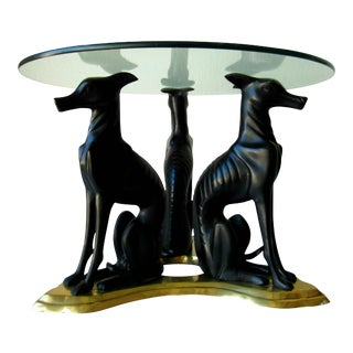 1980s Art Deco Revival Bronzed Italian Greyhound and Brass Trefoil Table For Sale