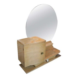 French 1930s Sycamore Vanity With Round Mirror For Sale