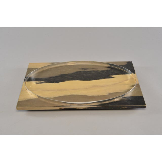 Circa 1990s wood tray found in Italy features rectangular hand stained wood tray in contrasting tones of gold, taupe and...