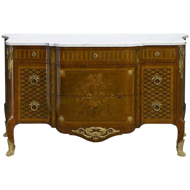 French Parquetry and Marquetry Ormolu-Mounted Commode, 19th Century For Sale - Image 4 of 4