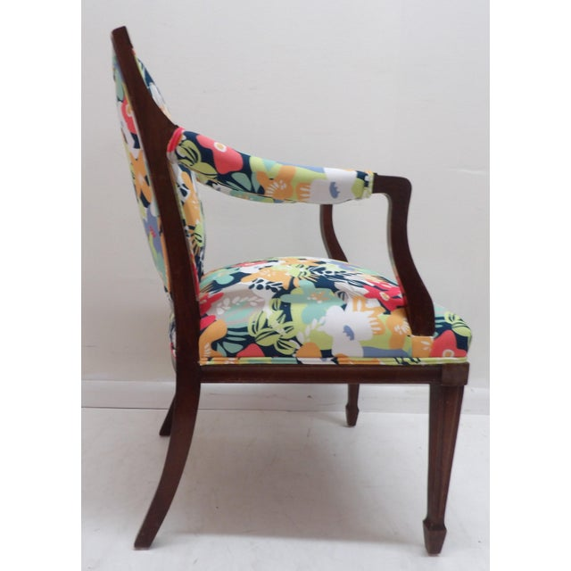 Colorful Upholstery Bold Accent Side Arm Chair For Sale - Image 4 of 7