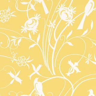 Sample - Schumacher Sky Meadow Wallpaper in Yellow For Sale