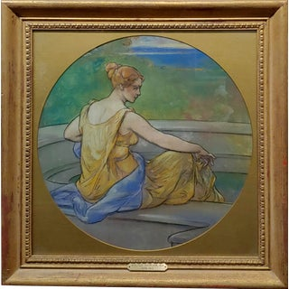 """Walter Shirley """"Woman Contemplating"""" Painting, 19th Century For Sale"""