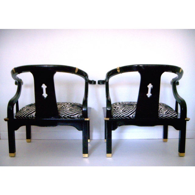 Black Lacquer Ming Style Arm Chairs - a Pair - Image 3 of 5
