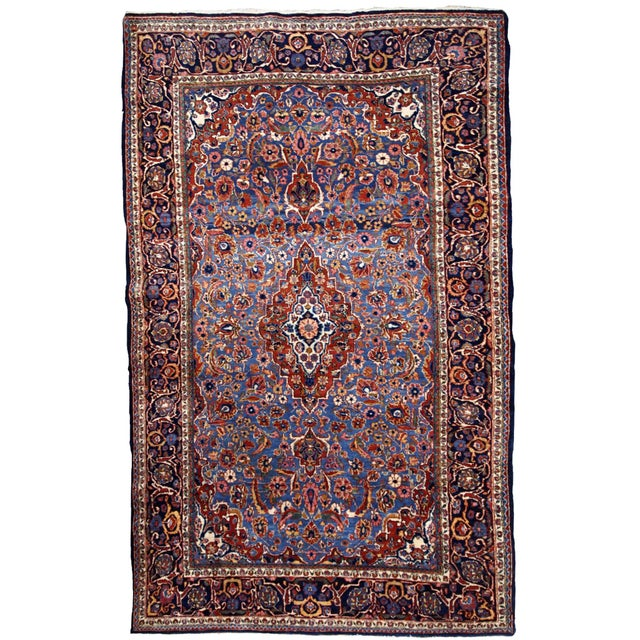 1900s, Handmade Antique Persian Kashan Rug 4.1' X 6.6' - 1b706 For Sale - Image 12 of 12