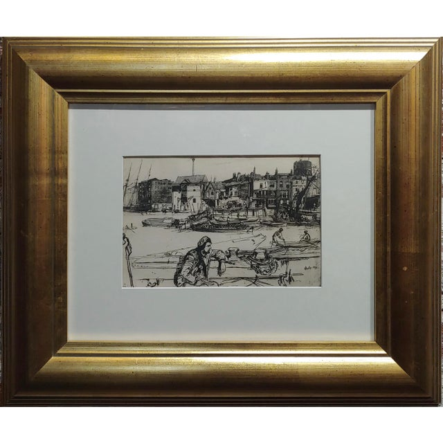 """Black Lion Wharf -Etching on paper by James Whistler. Etching on paper -Signed underglass and framed. frame size 19 x 17""""..."""