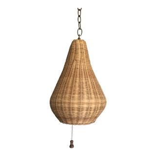 1960s Wicker Beehive Pendant Light For Sale