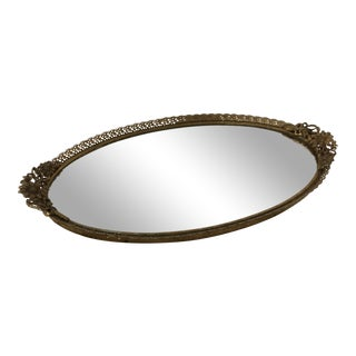 Vintage Oval Brass Floral Vanity Mirror Tray For Sale