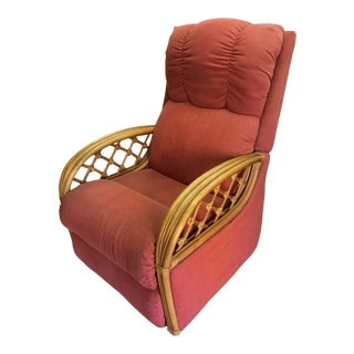 Paul Frankl Style Rattan Pretzel Recliner Chair 1 of a Pair For Sale