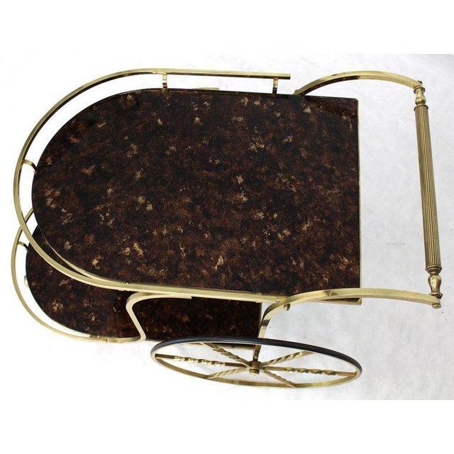 1970s Mid-Century Modern Brass Tortoise Finish Glass Bar Serving Cart For Sale - Image 4 of 8