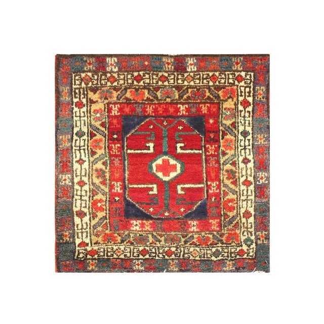 Early 20th Century Antique Persian Hamadan Rug - 2′ × 2′ For Sale