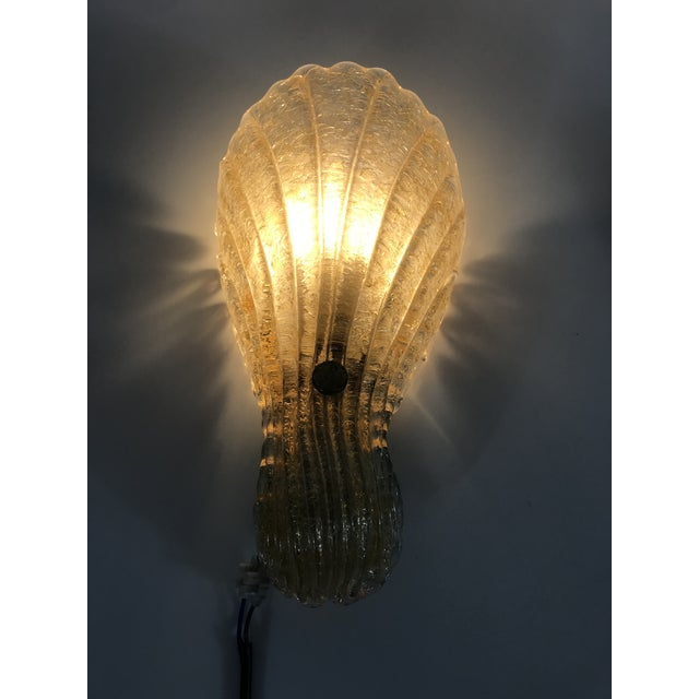 1960s Mid-Century Modern Shell Shaped Murano Glass Wall Lamps by Fischer Leuchten, Germany- a Pair For Sale - Image 11 of 12
